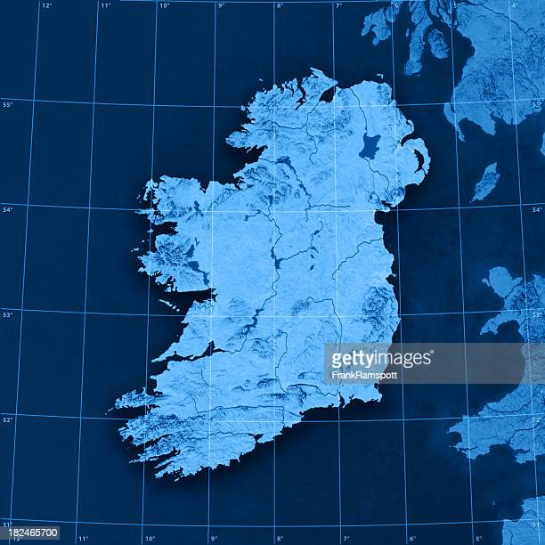 ireland topographic map - frank ramspott stock pictures, royalty-free photos & images