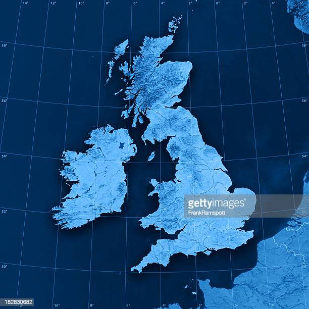 UK Ireland Topographic Map