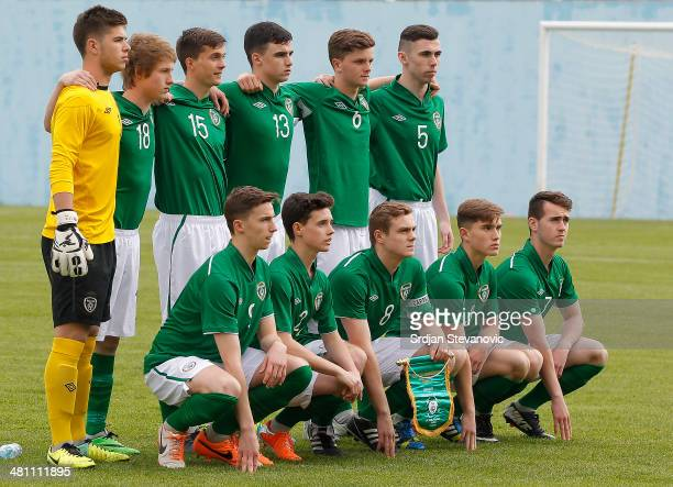 Ireland U17 team poses prior the UEFA Under17 Elite Round between Germany and Ireland at Stadion FC Obilic on March 28 2014 in Belgrade Serbia