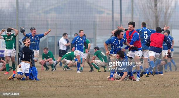 Ireland U18 players show dejection after the U18 rugby test match between Italy U18 and Ireland U18 on February 18 2012 in Badia Polesine Italy