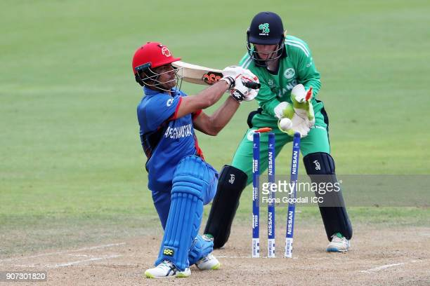 Ireland wicket keeper Mark Donegan dismisses Nasir Wahdat of Afganistan during the ICC U19 Cricket World Cup match between Afghanistan v Ireland at...