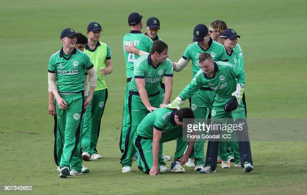 Ireland win the match during the ICC U19 Cricket World Cup match between Afghanistan v Ireland at Cobham Oval on January 20 2018 in Whangarei New...