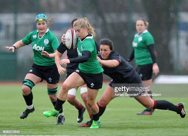 Ireland womens Ailsa Hughes during the Rugby Womens Friendly match between Wales Women and Ireland Women on January 21 2018 in Ystrad Mynach Wales