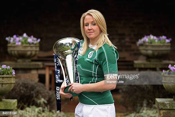 Ireland Women's captain Joy Neville poses with the Women's 6 Nations trophy during the launch of the RBS 6 Nations Championship at the Hurlingham...
