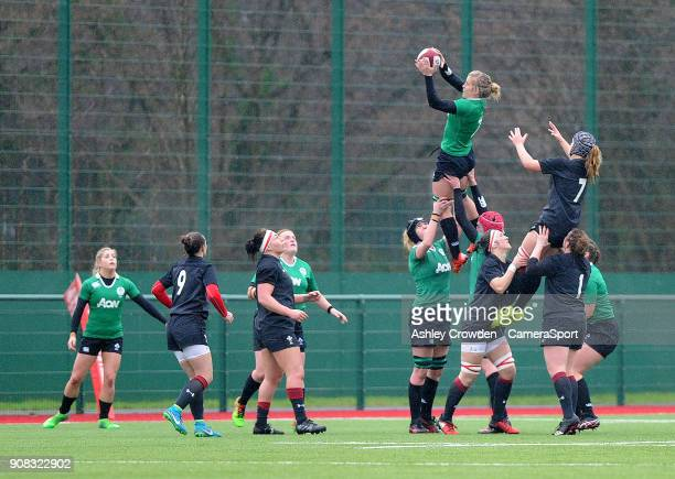 Ireland womens Ciara Griffin during the Rugby Womens Friendly match between Wales Women and Ireland Women on January 21 2018 in Ystrad Mynach Wales