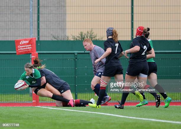 TRY Ireland womens Megan Williams scores her sides first try during the Rugby Womens Friendly match between Wales Women and Ireland Women on January...