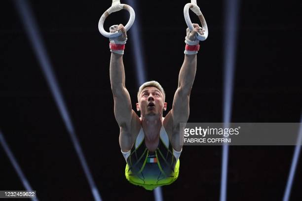 Ireland's Adam Steele competes in the Men's rings qualifications during European Artistic Gymnastics Championships at the St Jakobshalle, in Basel,...