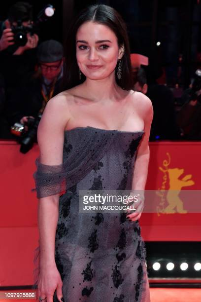 Ireland's Aisling Franciosi poses on the red carpet ahead of the screening for the film Vice at the 69th Berlinale film festival on February 11 2019...