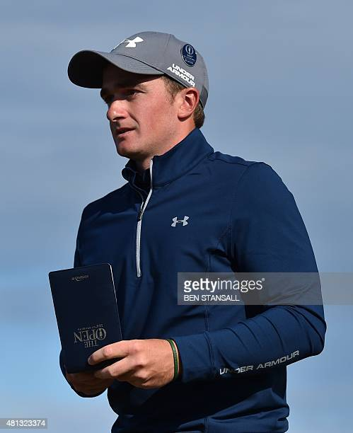 Ireland's amateur golfer Paul Dunne looks from the 16th tee during his third round 66, on day four of the 2015 British Open Golf Championship on The...