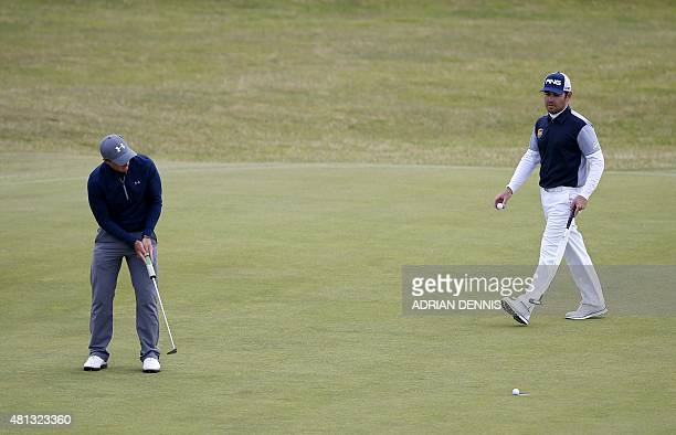 Ireland's amateur golfer Paul Dunne misses a putt on the 12th green during his third round 66, on day four of the 2015 British Open Golf Championship...
