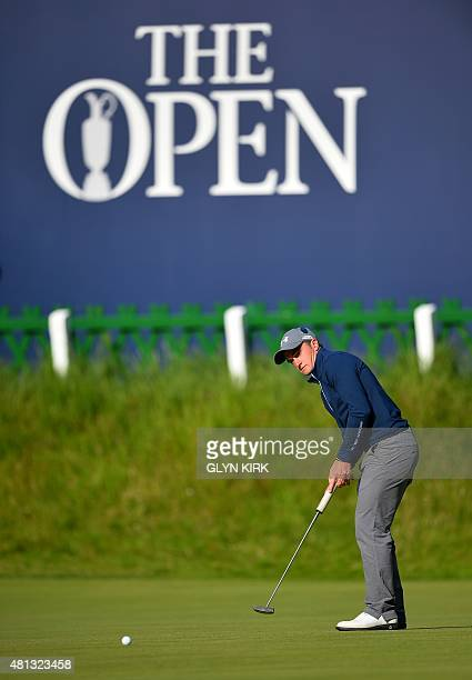 Ireland's amateur golfer Paul Dunne putts on the 18th green during his third round 66, on day four of the 2015 British Open Golf Championship on The...