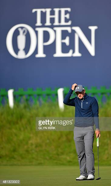 Ireland's amateur golfer Paul Dunne waits on the 18th green during his third round 66, on day four of the 2015 British Open Golf Championship on The...