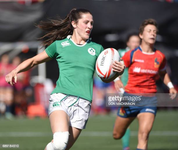 Ireland's Amee Leigh Murphy Crowe scores a try vs Spain in HSBC Canada Women's Sevens Rugby action at Westhills Stadium in Langford BC May 27 2017...