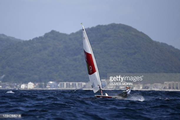 Ireland's Annalise Murphy competes in the women's one-person dinghy laser radial race during the Tokyo 2020 Olympic Games sailing competition at the...
