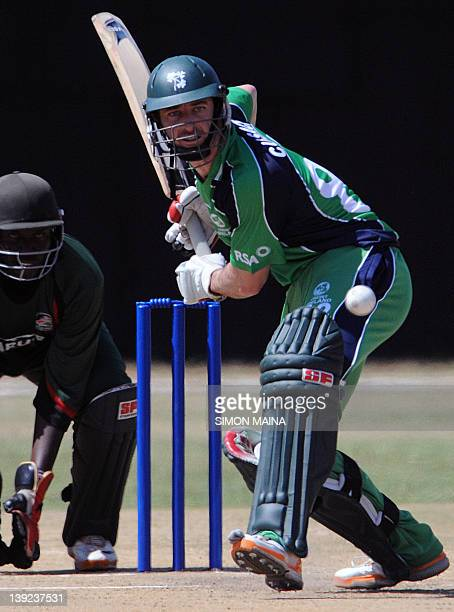 Irelands batsman Cussak Alex prepares to hit the ball against Kenya on February 18 2012 during the first of twooneday internationals at Mombasa...