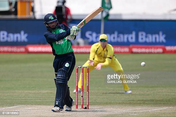 Ireland's batsman John Anderson plays a shot during Australia against Irelan ODI cricket match on September 27 2016 at the Willowmoore cricket ground...
