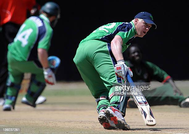 Ireland's batsman Kevin O'Brien makes a run against Kenya on February 18 2012 during a two oneday international at the Mombasa sports club The...