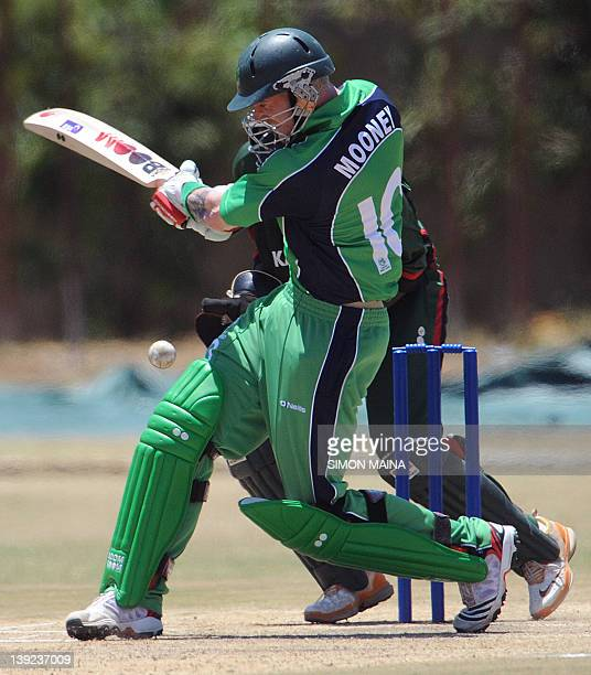 Ireland's batsmanJohn Mooney swings as he hits a four against Kenya's bowler James Ngoche during their oneday international cricket match at the...