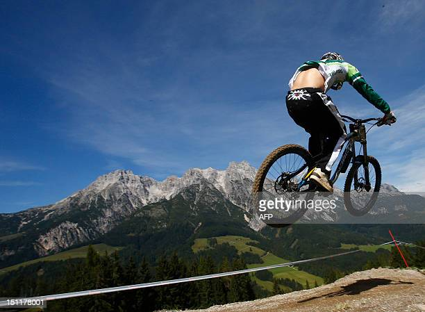 Ireland's Ben Reid competes during the men's elite downhill world championship race as part of the 2012 UCI Mountain Bike and Trials World...