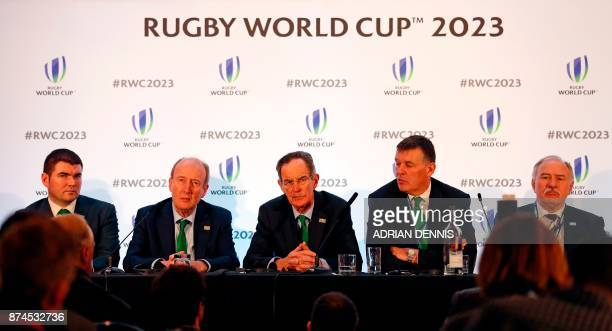 Ireland's bid team Ireland's Sports minister Shane Ross Ireland 2023 Bid Chairman Dick Spring and Irish Rugby chief Philip Browne hold a press...