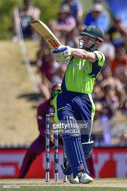 Ireland's captain William Porterfield plays a shot during the Pool B 2015 Cricket World Cup match between Ireland and the West Indies at Saxton Park...