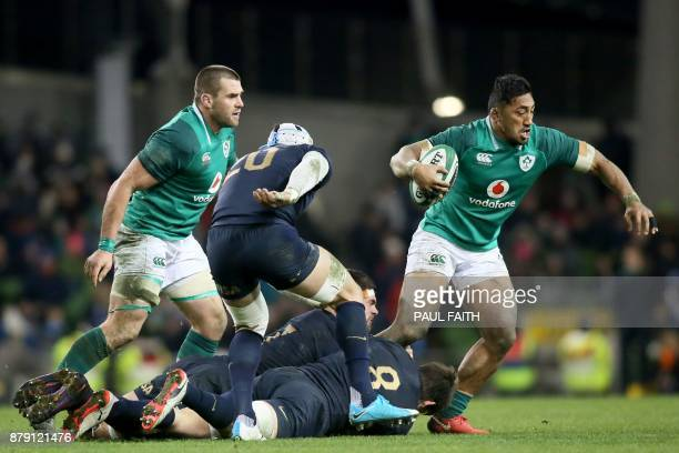 Ireland's centre Bundee Aki is tackled during the autumn international rugby union test match between Ireland and Argentina at the Aviva stadium in...