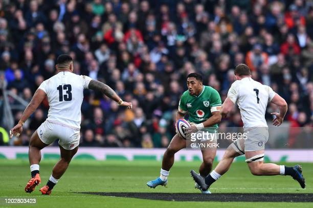 Ireland's centre Bundee Aki looks for a break during the Six Nations international rugby union match between England and Ireland at the Twickenham...