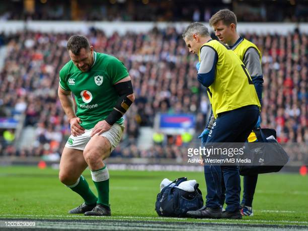 Ireland's Cian Healy injured in the first half during the 2020 Guinness Six Nations match between England and Ireland at Twickenham Stadium on...