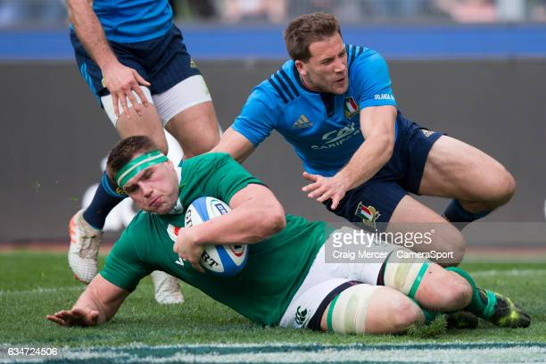 Ireland's CJ Stander scores his sides fifth try and his own hattrick during the RBS Six Nations Championship match between Italy and Ireland at...