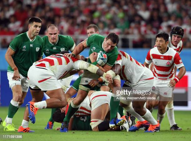 Ireland's CJ Stander stopped by Japanese defence during the Rugby World Cup 2019 Group A game between Japan and Ireland at Shizuoka Stadium Ecopa on...