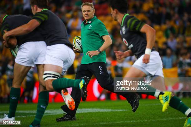 Ireland's coach Joe Schmidt before the first rugby Test between Australia and Ireland at Suncorp Stadium in Brisbane on June 9 2018 / IMAGE...