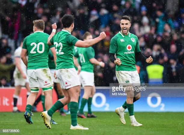 Ireland's Conor Murray and Joey Carbery at the final whistle after the NatWest Six Nations Championship match between England and Ireland at...