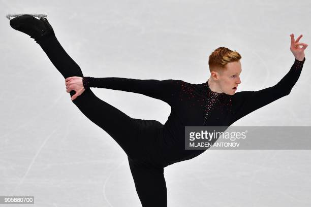 Ireland's Conor Stakelum performs his routine in the men's short program at the ISU European Figure Skating Championships in Moscow on January 17...