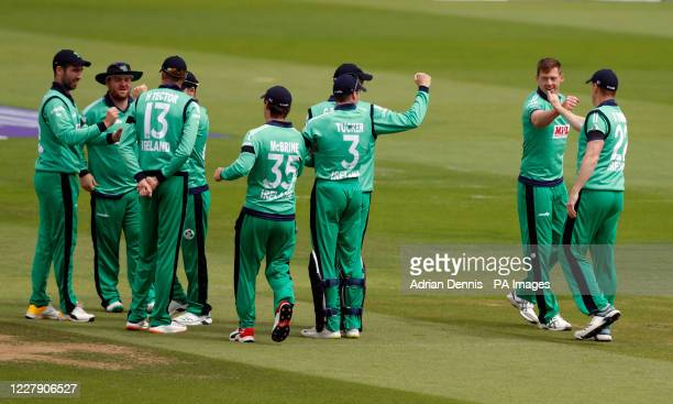 Ireland's Craig Young celebrates the wicket of England's Jason Roy during the third One Day International match at the Ageas Bowl Southampton