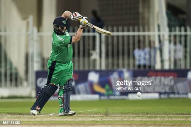 Ireland's cricketer Paul Stirling bats during the third one day international cricket match between Afghanistan and Ireland at Sharjah Cricket...