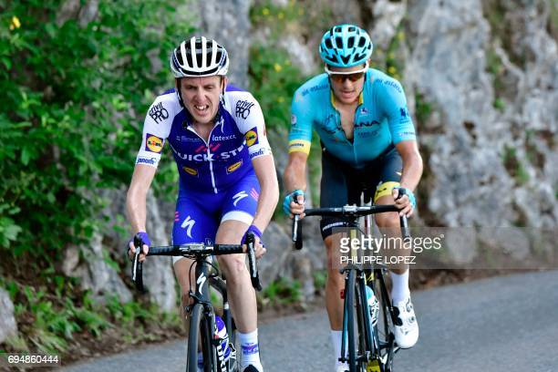 Ireland's Daniel Martin and Denmark's Jakob Fuglsang ride in a breakaway during the 115 km eighth and last stage of the 69th edition of the Criterium...