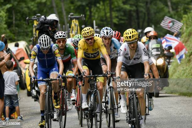 Ireland's Daniel Martin Italy's Fabio Aru Great Britain's Christopher Froome wearing the overall leader's yellow jersey France's Romain Bardet and...