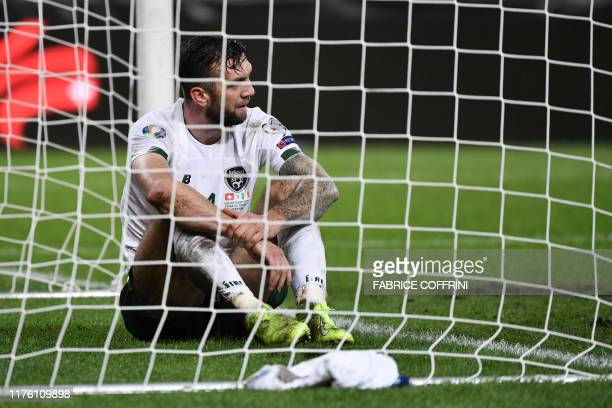 Ireland's defender Shane Duffy reacts at the end of the Euro 2020 football qualification match between Switzerland and Ireland at the Stade de Geneve...