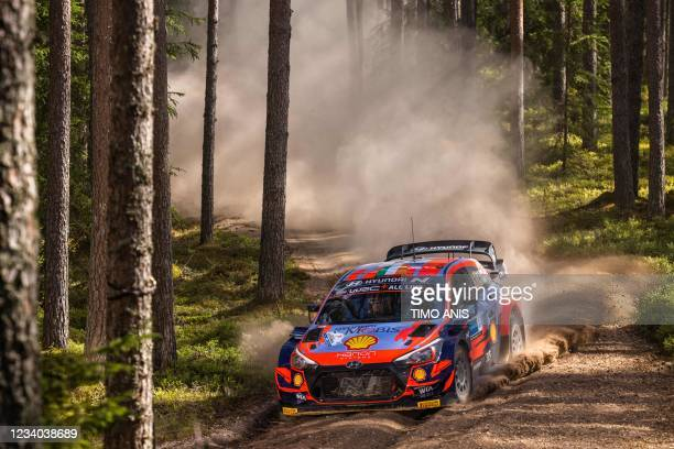Ireland's driver Craig Breen and Ireland's co-driver Paul Nagle steer their Hyundai i20 Coupe WRC car during stage 15 Mustvee of the WRC Rally...