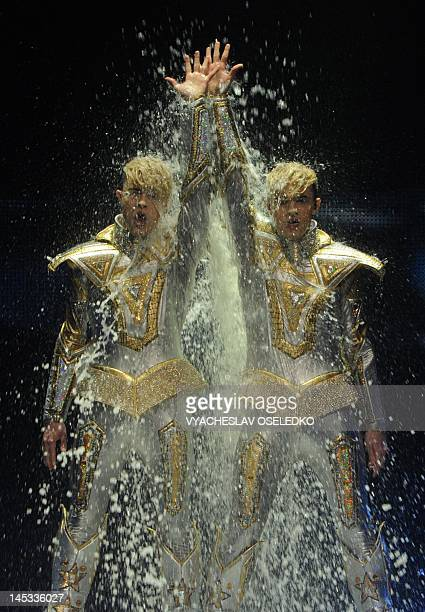 Ireland's duo Jedward performs during the Grand Final of the Eurovision 2012 song contest in the Azerbaijan's capital Baku late on May 27 2012 AFP...