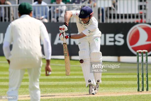 Ireland's Ed Joyce is out leg before wicket to Pakistan's Mohammad Abbas during play on day three of Ireland's inaugural test match against Pakistan...