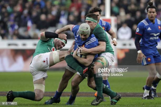 Ireland's flanker Peter O'Mahony vies with France's number 8 Kevin Gourdon during the Six Nations rugby union match between France and Ireland at the...