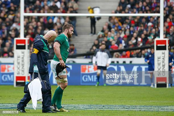 Ireland's flanker Sean O'Brien lies limps after a shock during the Six Nations international rugby union match between France and Ireland at the...