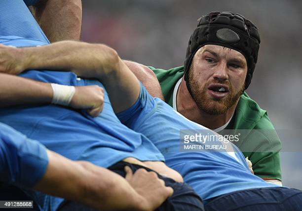 Ireland's flanker Sean O'Brien vies in a scrum during a Pool D match of the 2015 Rugby World Cup between Ireland and Italy at the Olympic Stadium...