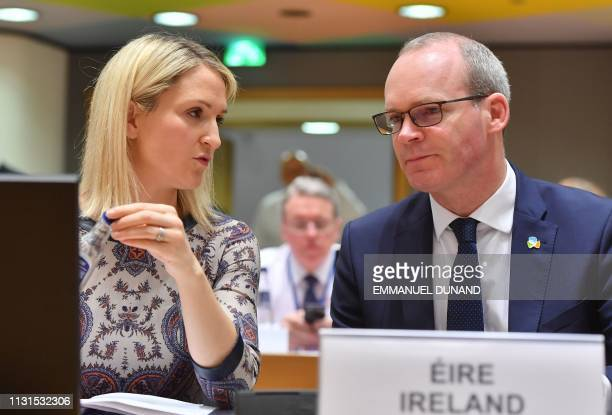 Ireland's Foreign Minister Simon Coveney and Irish Minister of State for European Affairs Helen McEntee attend a General Affairs Council on article...
