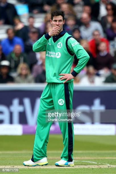 Ireland's George Dockrell looks on frustrated during the Royal London ODI between England and Ireland at Lord's Cricket Ground on May 7 2017 in...