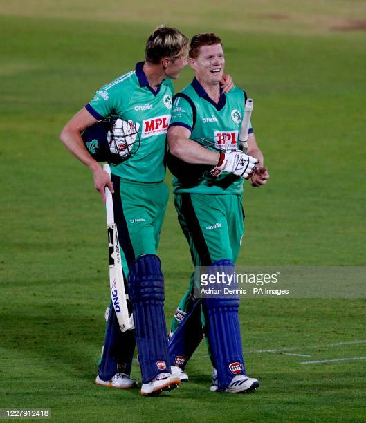 Ireland's Harry Tector celebrates with Kevin O'Brien after winning the third One Day International match at the Ageas Bowl Southampton
