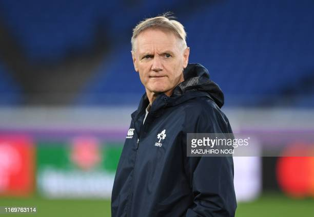 Ireland's head coach Joe Schmidt takes part a training session at International Stadium Yokohama in Kanagawa Prefecture on September 20 ahead of the...