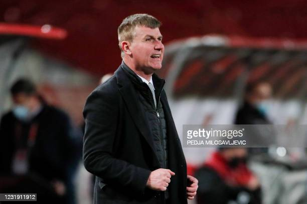 Ireland's head coach Stephen Kenny reacts during the FIFA World Cup Qatar 2022 Group A qualification football match between Serbia and Ireland, at...