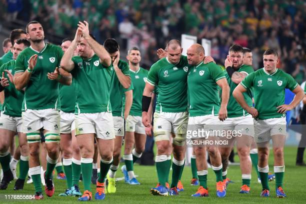 Ireland's hooker Rory Best reacts as he retires after the Japan 2019 Rugby World Cup quarter-final match between New Zealand and Ireland at the Tokyo...